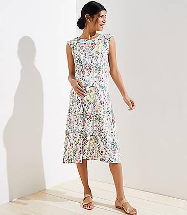 97e55f8502b Maternity Floral Cap Sleeve Slit Dress