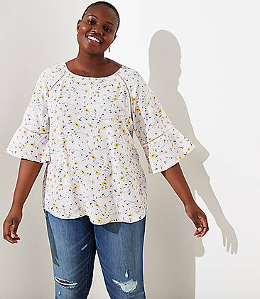 ee4a68b1f36a4 LOFT Plus Floral Perforated Lacy Mixed Media Top