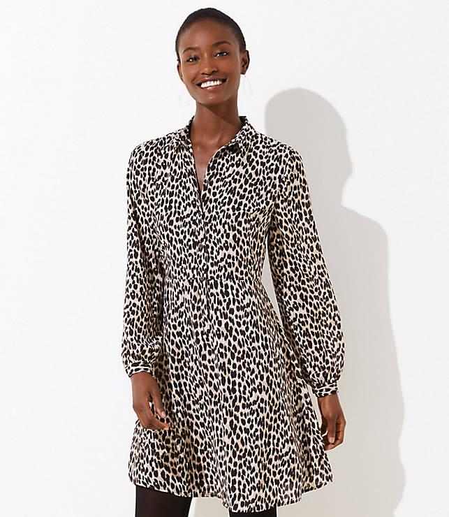 69fae06e2af Leopard Print Flare Shirtdress