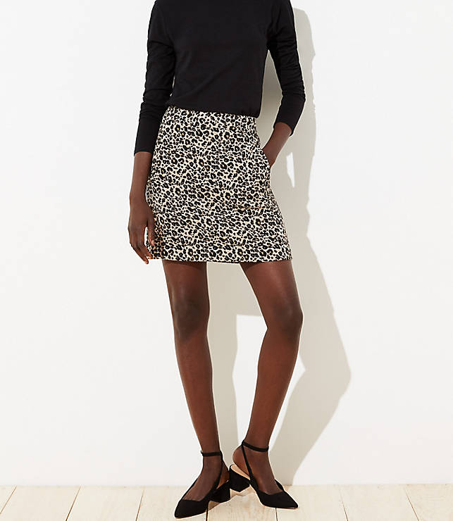 Petite Leopard Print Shift Skirt