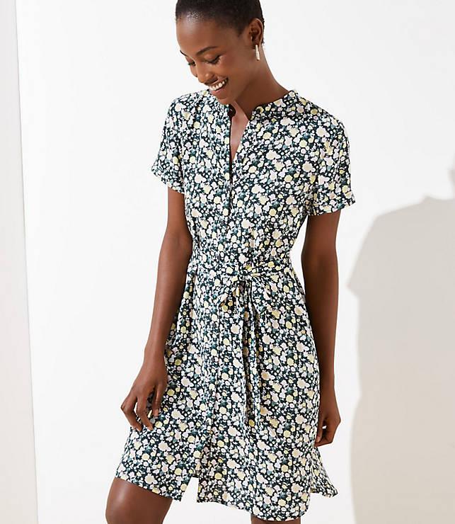 Petite Floral Tie Waist Shirtdress