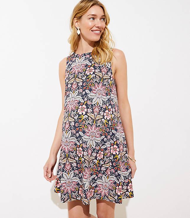 c875046216c1 Maternity Paisley Floral Sleeveless Swing Dress | LOFT