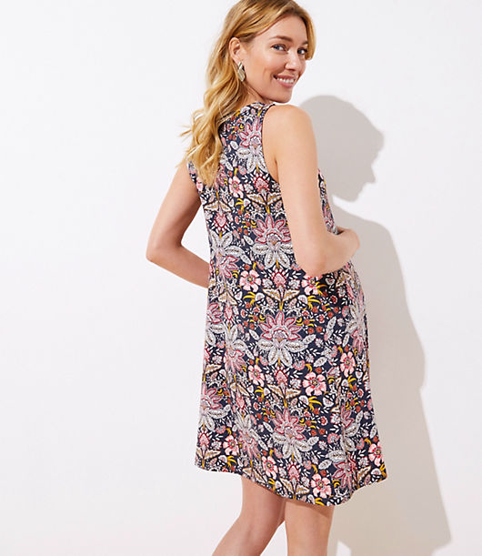 057f5bb1393a Image 3 of 3 - Maternity Paisley Floral Sleeveless Swing Dress