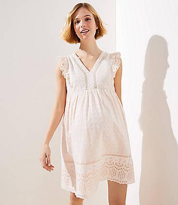 6489d11c1d3d7 Maternity Lacy Eyelet Flutter Dress