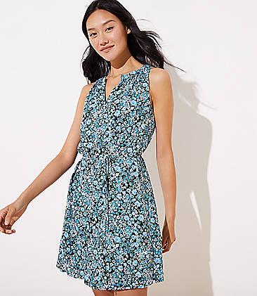 0c9e87e30bb89 Petite Floral Split Neck Tie Waist Dress