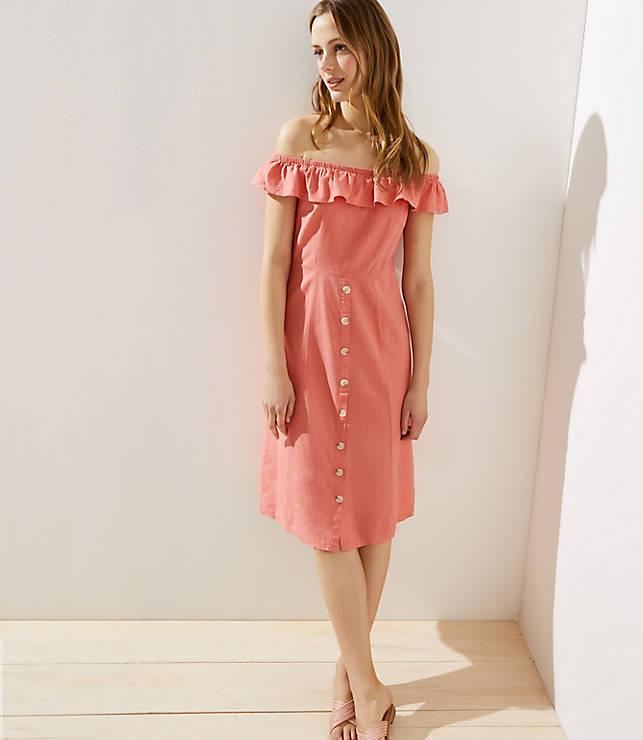 Loft Beach Off The Shoulder Button Dress by Loft