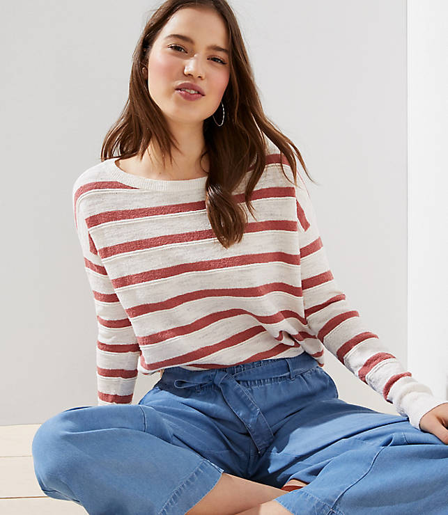 6a5f865a Striped Drop Shoulder Sweater | LOFT