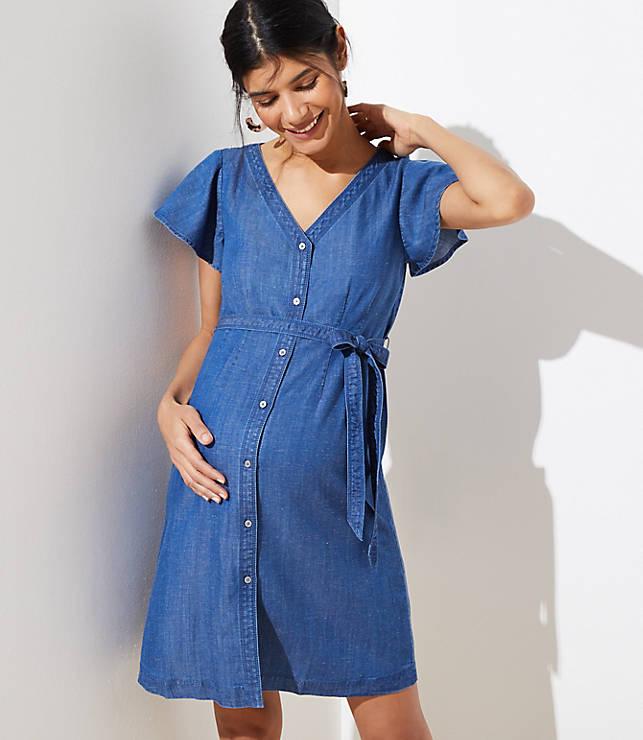 9c487f485784a Maternity Chambray Flutter Tie Waist Shirtdress | LOFT