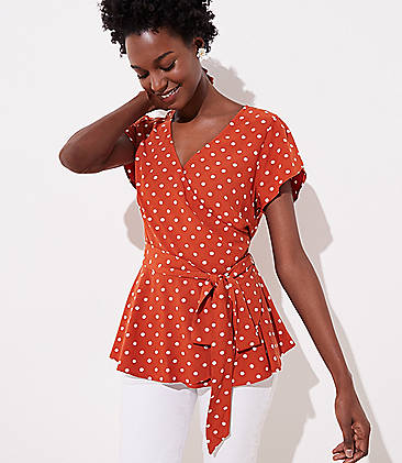 2525e388f7 Dotted Tulip Sleeve Wrap Top