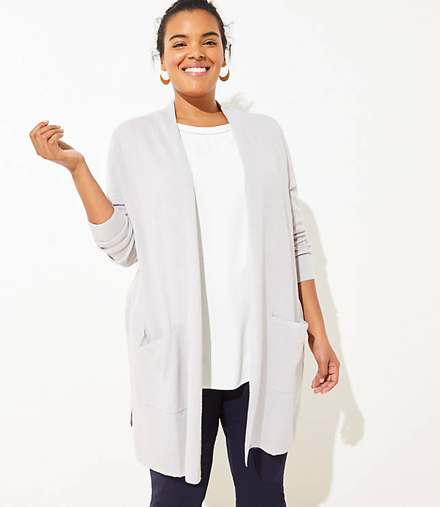 c06eaf8793 LOFT Plus Linen Blend Pocket Duster Sweater