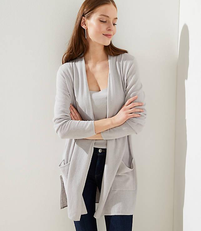 95077cd35b3 Petite Linen Blend Pocket Duster Sweater