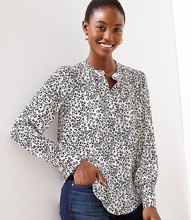 1a209e2e48a8 Leopard Print Crossover Yoke Shirt | LOFT