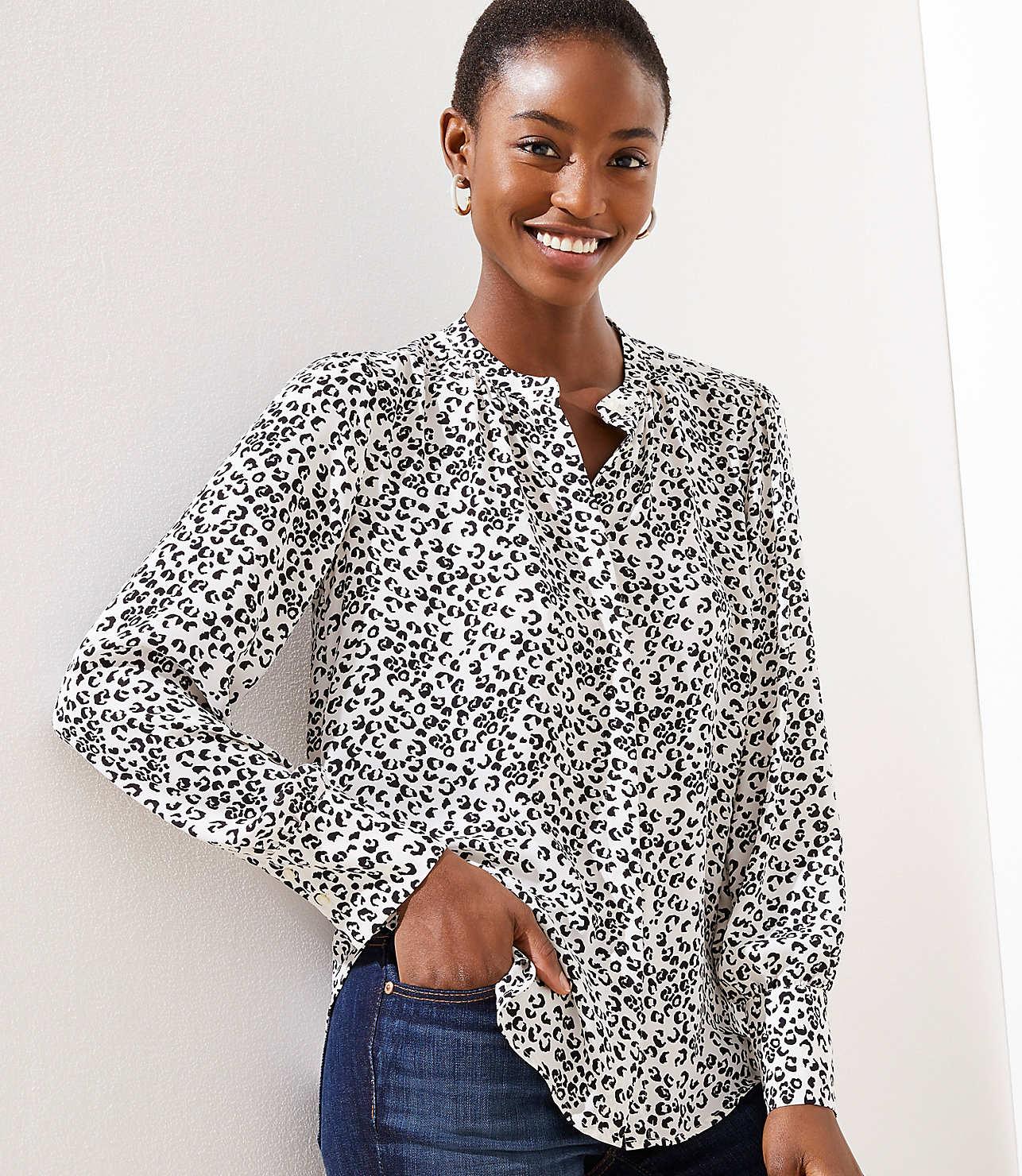 Leopard Print Crossover Yoke Shirt by Loft