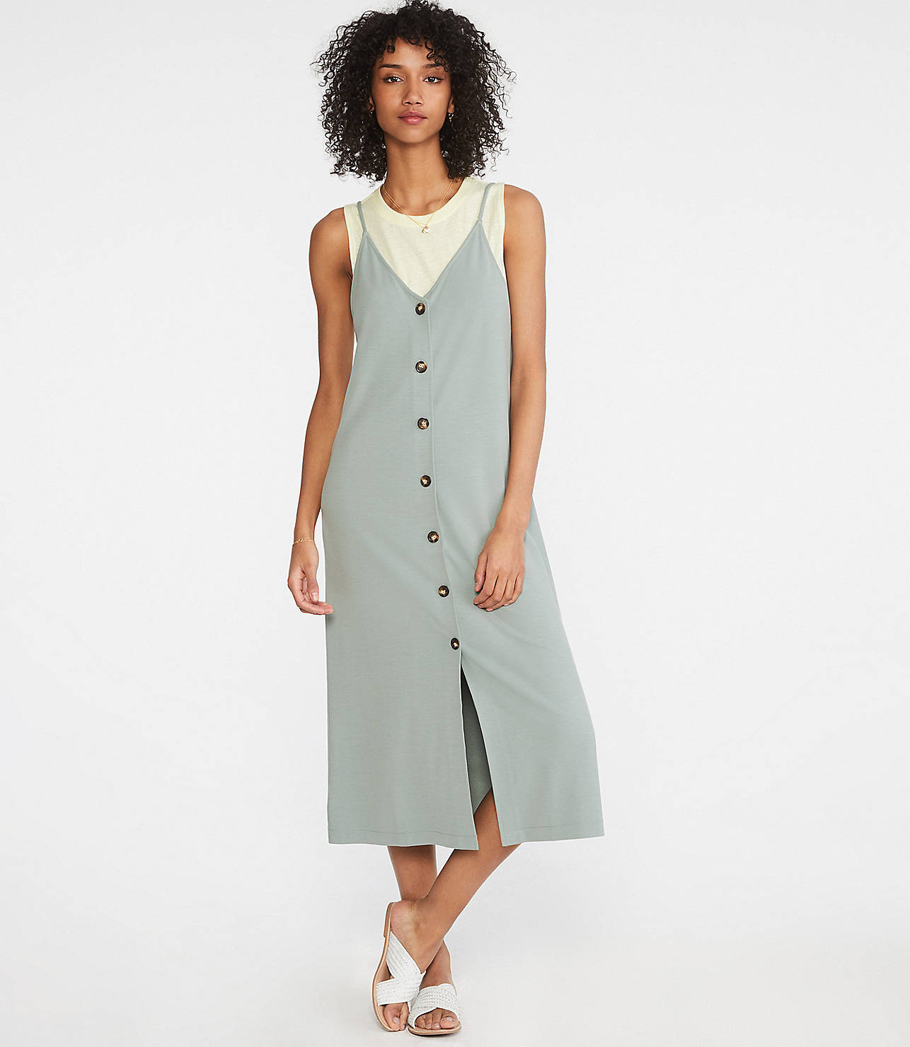 d94e881cfa09 Shoptagr | Lou &Amp; Grey Ponte Button Down Slip Dress by Lou & Grey