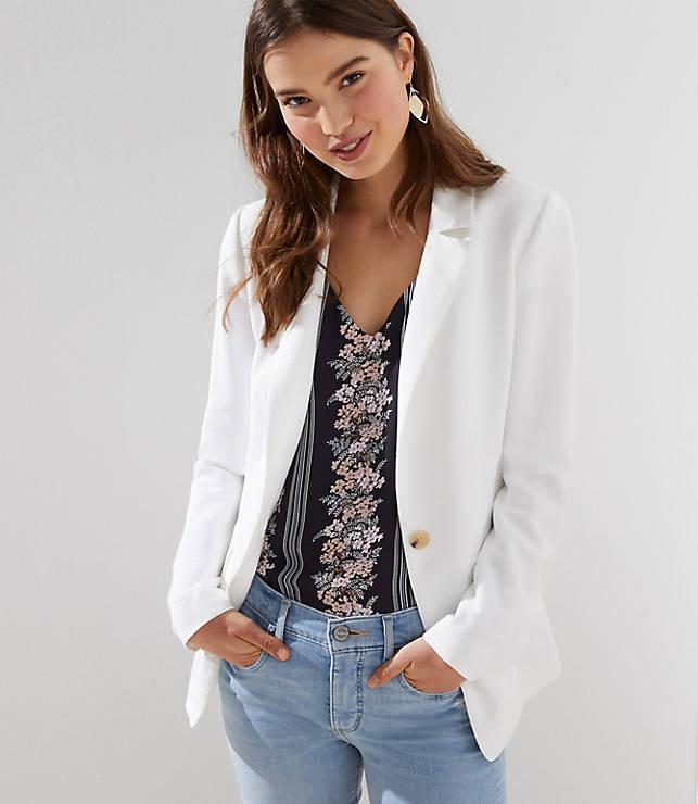 Petite Textured Long Blazer