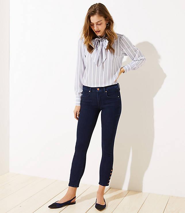 e99ad43ae113e Petite Button Cuff High Waist Slim Pocket Skinny Jeans in Refined Dark  Indigo Wash