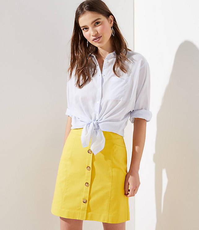Petite Button Shift Skirt