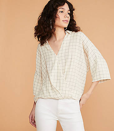 9c3c3e03f811e ... 79.50 Lou   Grey Crinkle Plaid Wrap Top