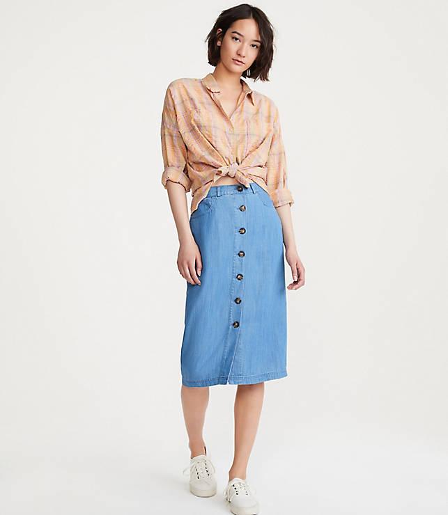 1a17cd6a7 Chambray Button Midi Skirt | Lou & Grey
