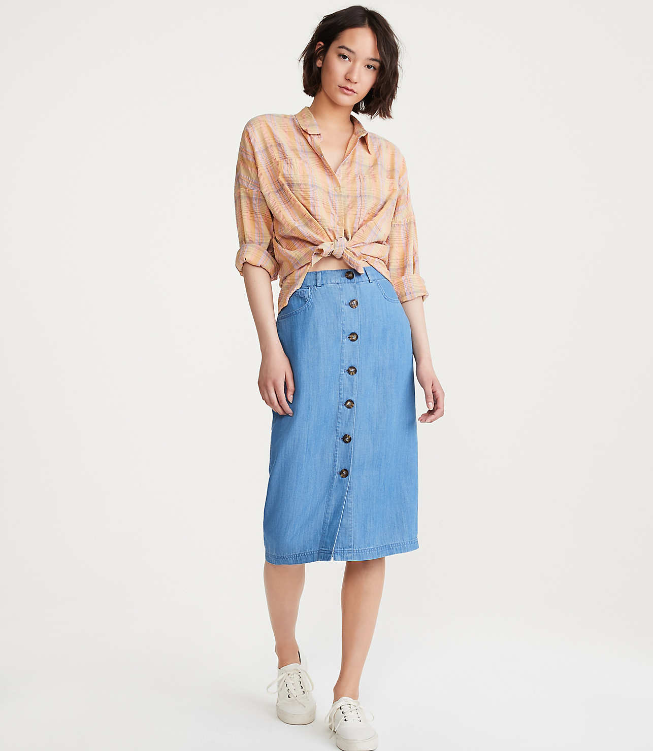 the best attitude price remains stable choose newest Chambray Button Midi Skirt | Lou & Grey