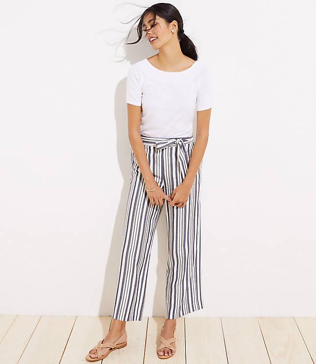 d976ec5118 Shimmer Stripe Tie Waist Wide Leg Pants   LOFT