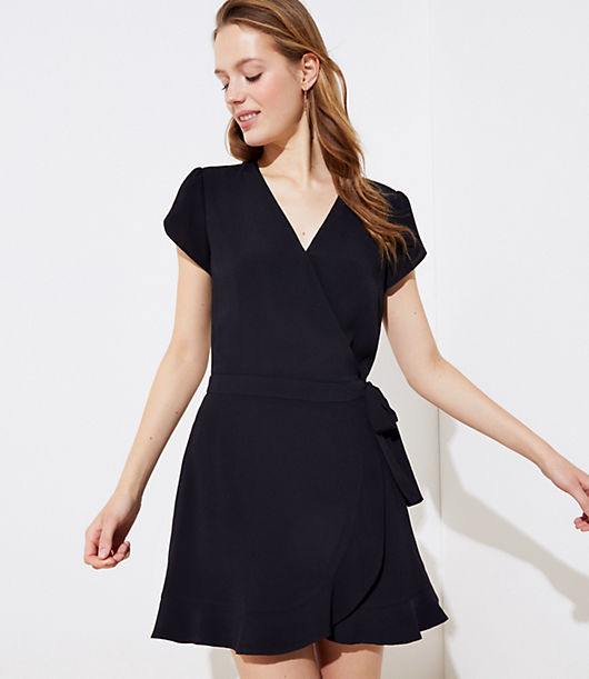 The flirty flair of a mini wrap dress, the comfy and flattering ease of a romper - every closet deserves this dream of a warm-weather staple. V-neck. Tulip cap sleeves. Waist ties. Side zip. Partially lined. Loft Wrap Skort Romper