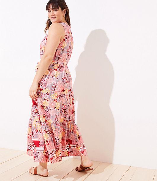 f60b0ac8c Image 3 of 3 - LOFT Plus LOFT Beach Palm Leaf Tie Waist Maxi Dress