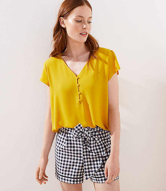 Buttoned Petal Sleeve Top