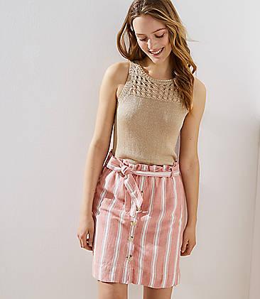 fc4fcd3fee Striped Tie Waist Button Skirt