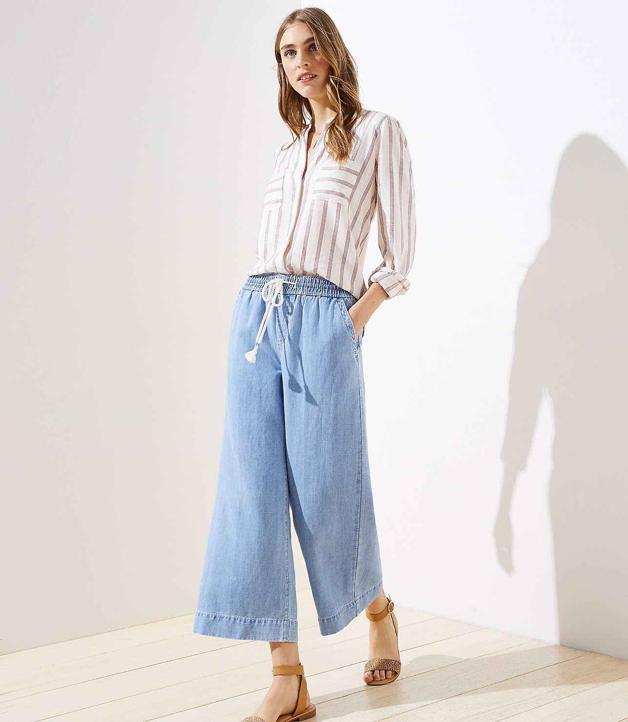 on feet shots of website for discount preview of Cotton Linen Drawstring Wide Leg Crop Pants | LOFT