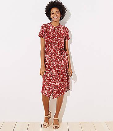 3ec432711df Floral Tie Waist Shirtdress