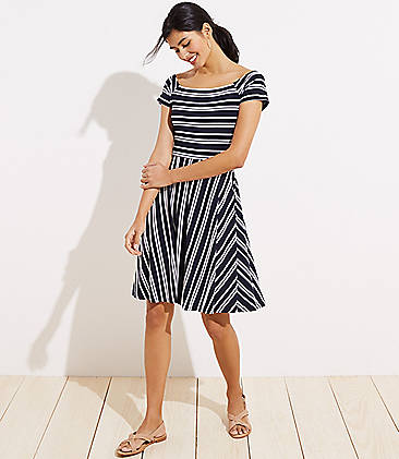 3f80526e5f Striped Wrap Back Flare Dress