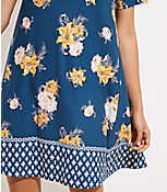 942e4e100bf Image 2 of 3 - Border Floral Short Sleeve Swing Dress