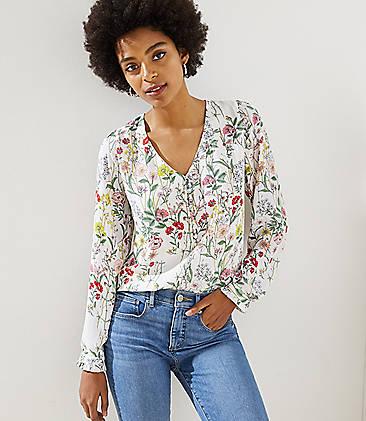 8455c1762e9 Floral V-Neck Henley Blouse