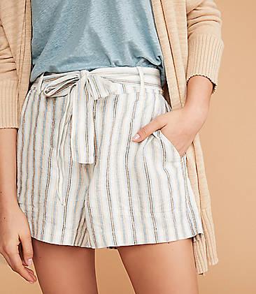 85ba6200 Lou & Grey Striped Tie Waist Linen Shorts