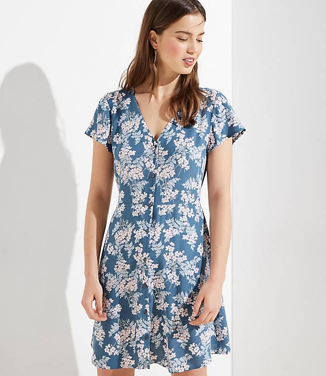 92037241af4d Floral Button Flutter Dress | LOFT