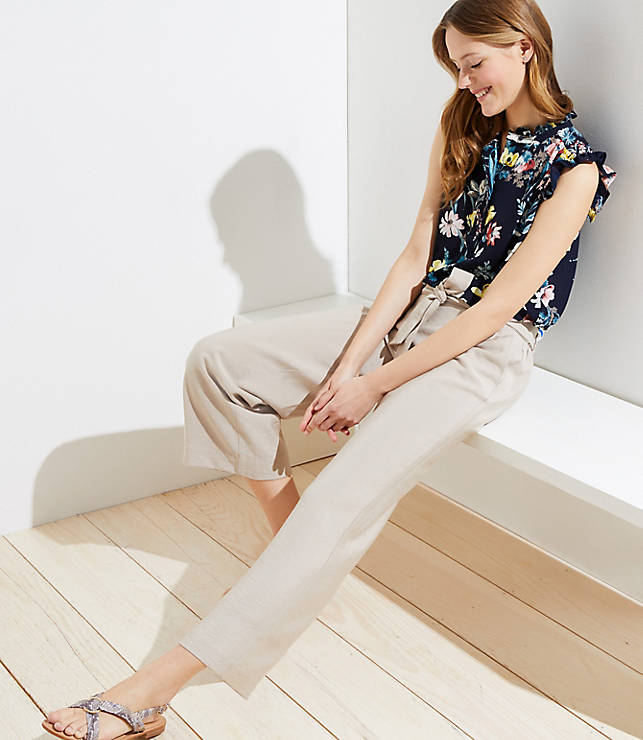 Petite Tie Waist Wide Leg Pants