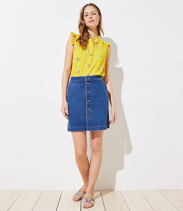 9ff4e41c63ba Tall Button Down Denim Skirt in Mid Indigo Wash | LOFT