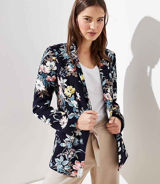 Petite Floral Long Open Blazer