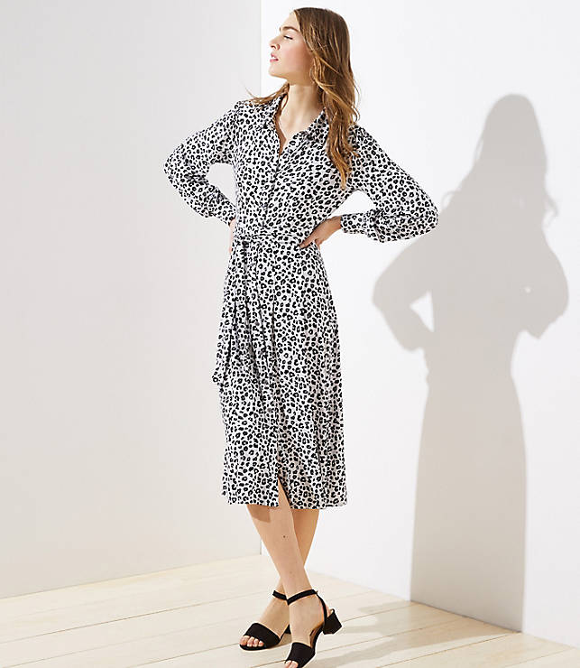 Petite Leopard Print Tie Waist Shirtdress