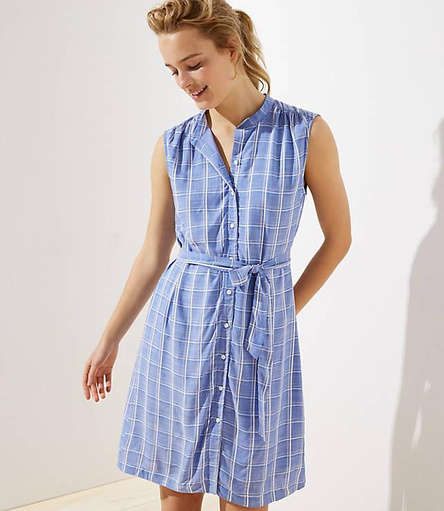 a48e5d5c86 Plaid Sleeveless Tie Waist Shirtdress