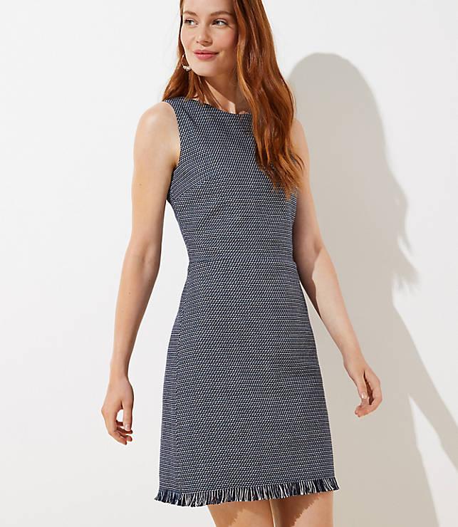 Fringe Hem Sheath Dress by Loft