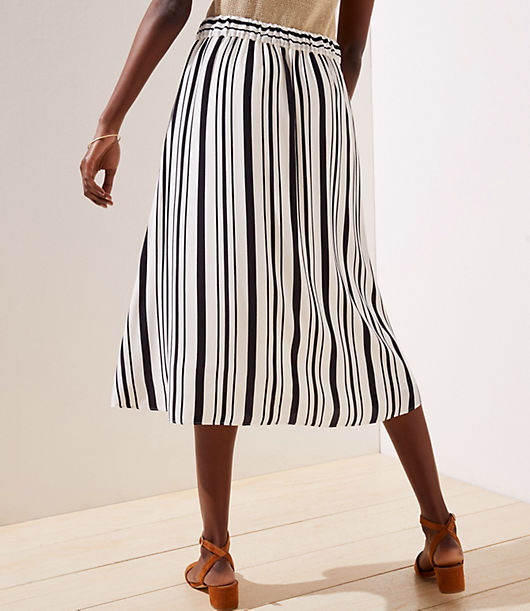 b955433f708424 Image 3 of 3 - Striped Button Front Midi Skirt
