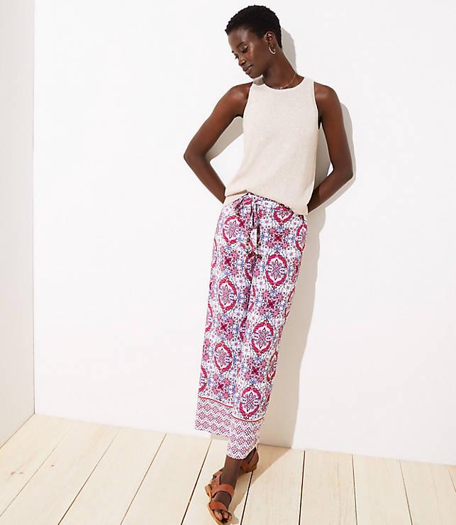 Mosaic Tie Waist Wide Leg Pants by Loft
