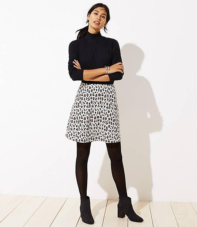 Petite Leopard Print Flippy Skirt
