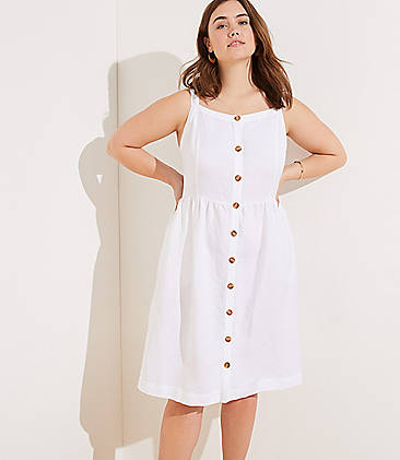 a43b35b43d1 LOFT Plus Striped Button Down Flare Dress