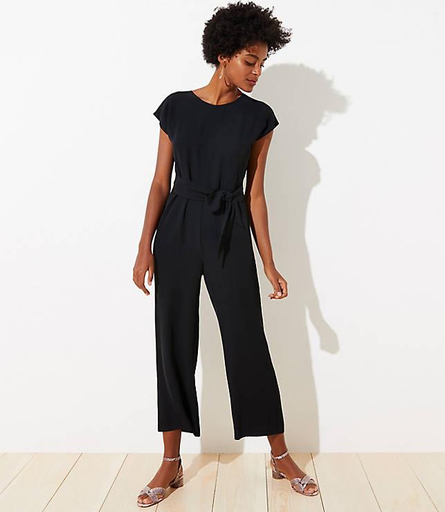 V-Back Tie Waist Jumpsuit