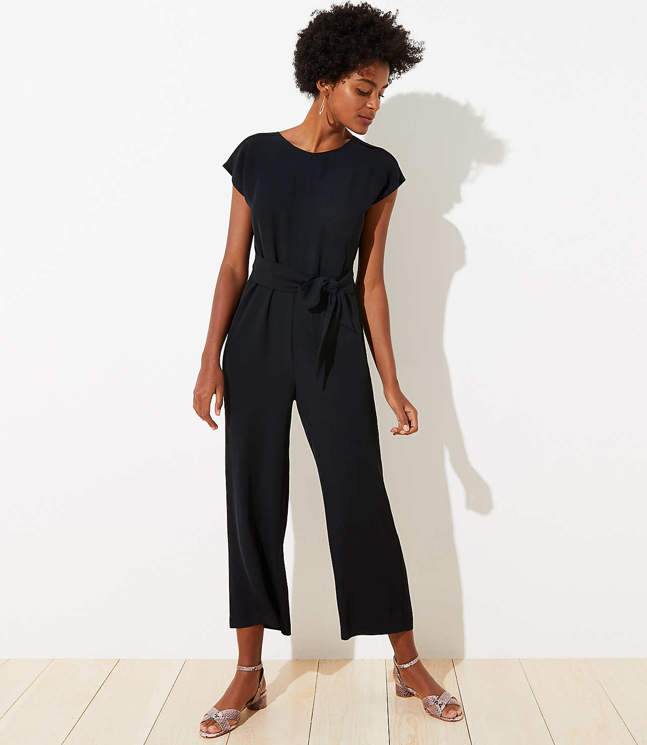 new release classic fit durable in use V-Back Tie Waist Jumpsuit   LOFT