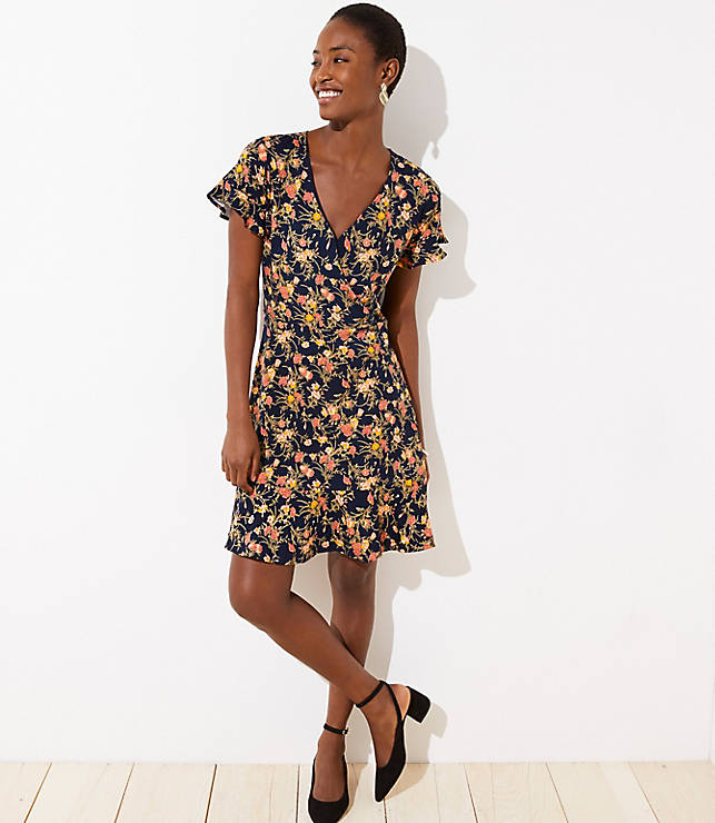Bouquet Wrap Flutter Flare Dress by Loft