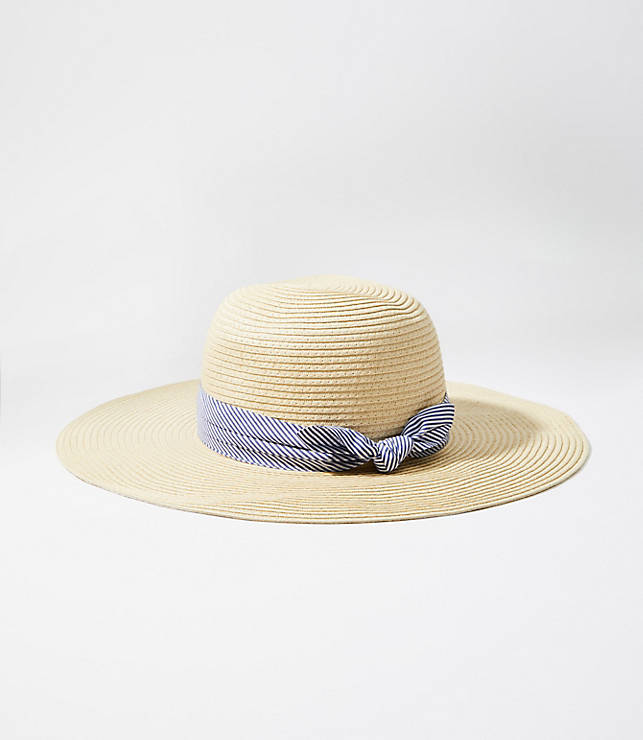 1294e14ee85e9 Striped Ribbon Floppy Straw Hat | LOFT
